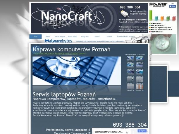 NanoCraft serwis komputerowy Poznań bezpłatne diagnozy telefoniczne pogotowie komputerowe o każdej