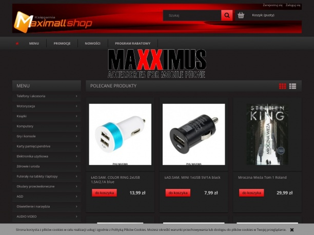 Strona księgarni internetowej Maximallshop