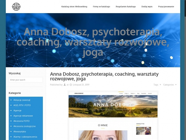 Anna Dobosz – gabinet terapeutyczno-coachingowy Szczecin